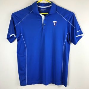 Nike Golf Texas Rangers Sz Large Men's Blue Polo